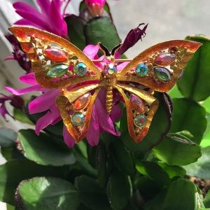 Vintage butterfly brooch with gemstones